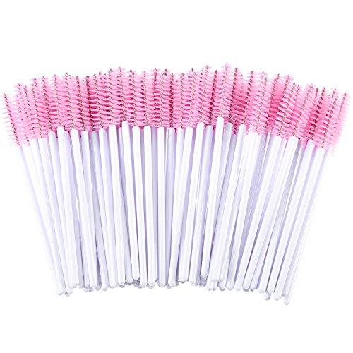 eBoot 300 Pieces Colored Disposable Mascara Wands Eyelash Eye Lash Brush Makeup Applicators Kit (White Handle, Pink Head)