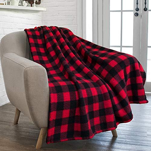 PAVILIA Buffalo Check Sherpa Manta | Manta a cuadros negro rojo a cuadros | Manta de microfibra suave y esponjosa para sofá | 50 x 60 pulgadas a cuadros rojo