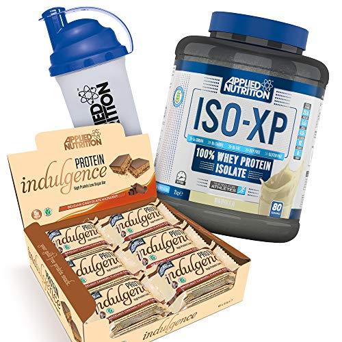 Applied Nutrition Bundle ISO XP 100% Whey Protein Isolate Powder 2kg + Protein Indulgence High Protein Low Sugar Bar Box 12 x 50g + 700ml Shaker (ISO Vanilla + Choc Hazelnut Bars)