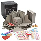 Explosion Photo Box(Gray) - Pre Assembled! Great As A DIY, Birthday Gift Or Album for a Boyfriend/Girlfriend. Full Scrapbook Kit For Any Suprise Or Valentine, Anniversary Or Christmas by Hoppin Crafts