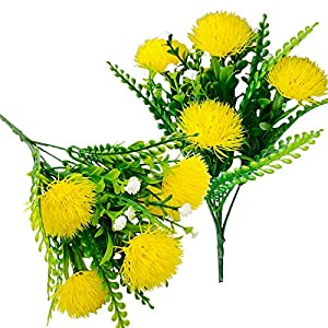 2Pack Artificial Dandelion Flower Fake Lily Fower Faux Plants Silk Spring Onion Flowers Ball Bouquets for Home Wedding Decoration Photography Props (Yellow 2)