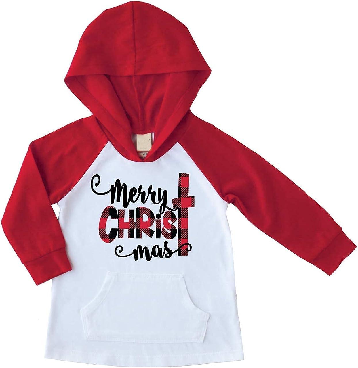 Bump and Beyond Designs Kids Buffalo Plaid Merry Christmas Shirt