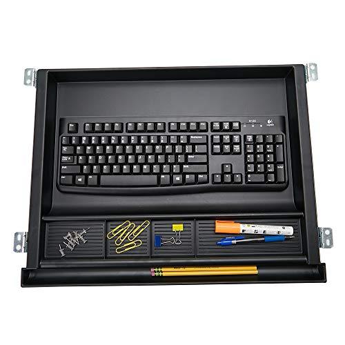 Mind Reader LGKEYORG-BLK Large Under Desk Tray, Ergonomic Computer Keyboard & Mouse Platform, Adjustable Drawer, Black Keyboard Organizer