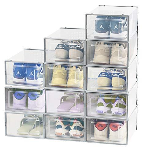 ZOVOTA 12 cajas de almacenamiento de zapatos plegables transparentes para zapatos, organizador apilable, tipo cajón de plástico con apertura frontal