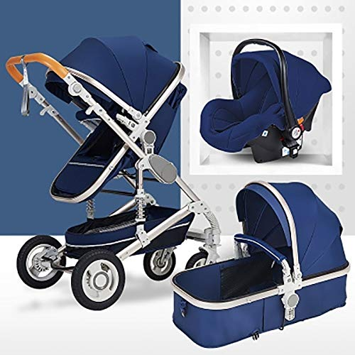 3 In 1 Kinderwagen High View Anti-Shock Wandelwagen Vervoer Met Baby Basket Twee-weg For Pasgeboren En Baby Traveling (Color : Silver tube-Blue)
