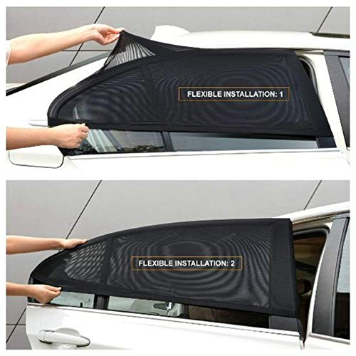 Auto Zonneklep Achter Zijruit Zonnescherm Mesh 2 Stuks Zwart Auto Zonnescherm Gordijnstof Auto Klamboe Shield UV Protector