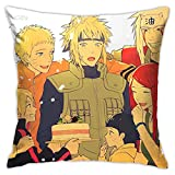Naruto X Hinata Boruto Square Pillowcase Throw Pillow Cover Soft Polyester Pillow Case Home Decor for Living Room Sofa Couch Bed Toy Room Or Car Pillowcases Cushion Cover 18'X 18'Inch