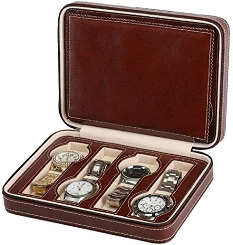 Caja de reloj de piel sintética con cremallera de almacenamiento portátil de 8 cuadrículas, caja de reloj de viaje, organizador de relojes