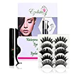 Fake Eyelashes Set (5 Pair) with Magnetic Eyeliner, Tweezer & Storage Box with Mirror - 5X Thick & Long - Natural Looking, Soft & Reusable - Waterproof (1x Magnetic Eyeliner - Thick & Long)
