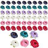 Künstliche Blumenköpfe Pfingstrosen, Kunstblumen, Für Hochzeit, Zum Basteln, 4 x 4 x 3 cm, Gemischte Farben, Polyester, 60 Stück