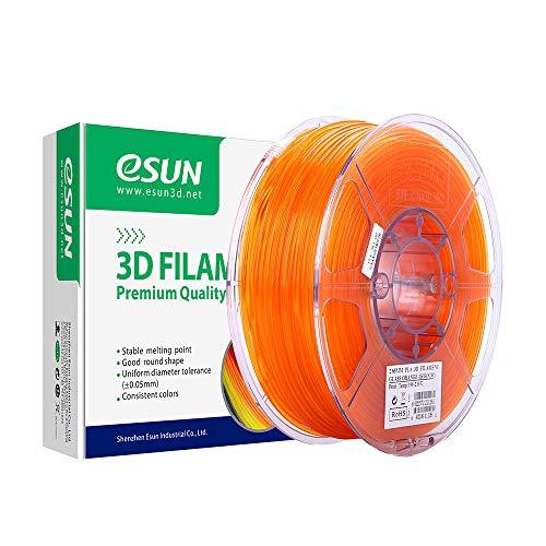 eSUN Filamento PLA Trasparente per Stampante 3D, Filamento PLA 1.75mm, Precisione Dimensionale +/- 0.05mm, Bobina da 1KG (2.2 LBS) Filamento per Stampanti 3D e Penne 3D, Arancione Trasparente