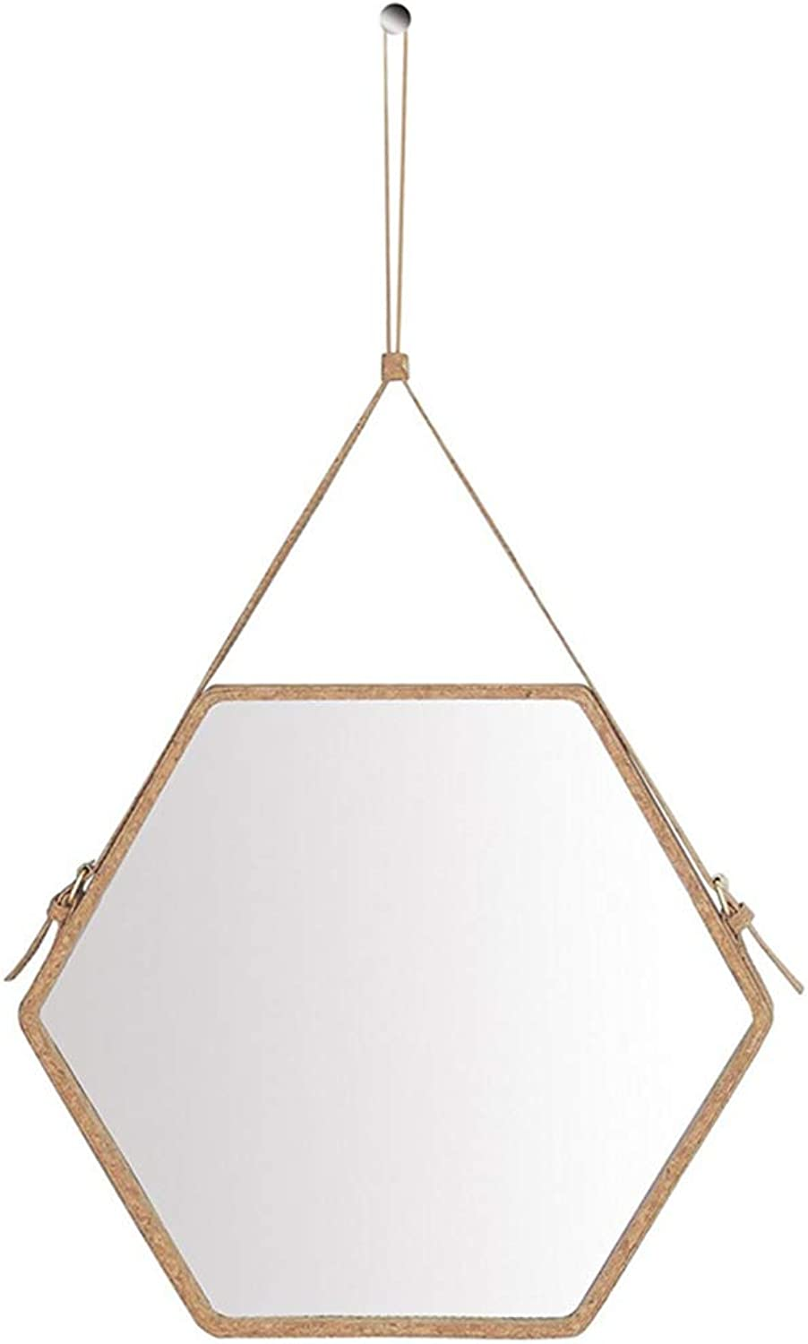 Decorative Wall Hanging Mirror Hexagonal Faux Leather Border - 3 Light Brown Frame