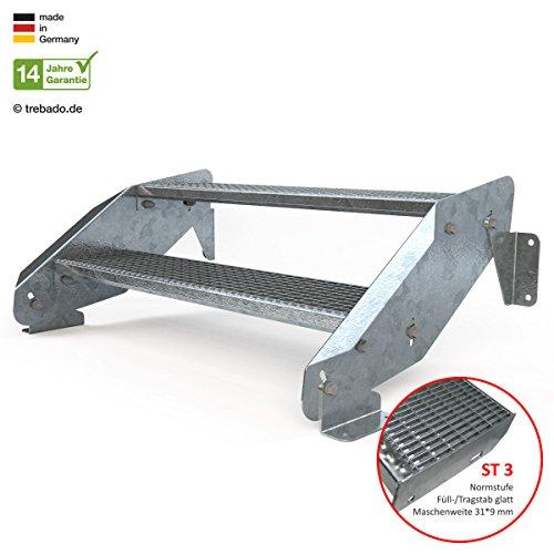 Außentreppe 2 Stufen 100 cm Laufbreite - ohne Geländer - Anstellhöhe variabel von 29 cm bis 44 cm - Gitterroststufe ST3 - feuerverzinkte Stahltreppe mit 1000 mm Stufenlänge als montagefertiger Bausatz