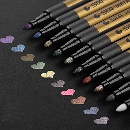 Rotuladores metálicos, Vakki Juego de 10 colores surtidos Bolígrafos de pintura Conjunto de marcadores de arte para hacer tarjetas, Scrapbooking, Foto de bricolaje, Piedra de papel del álbum