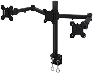 EZM Articulating Heavy-Duty Triple LCD/LED/Plasma/Flat Panel Monitor Mount Stand Desktop Clamp Holds up to 24