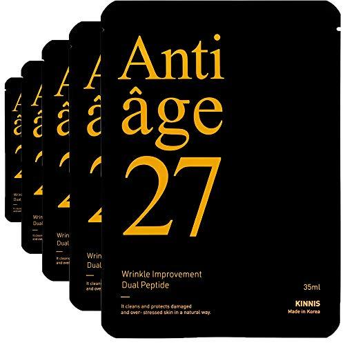 Antiage27 - Máscara facial coreana, doble péptido, hojas premium para piel sensible, mejora las arrugas, cuidado de la piel coreana, hidratante para piel seca (5.92 fl.oz) 35 ml 5 hojas