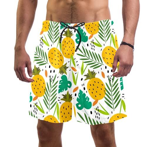 Abenily Pantalones cortos de natación para hombre con diseño de piñas tropicales con forro de malla