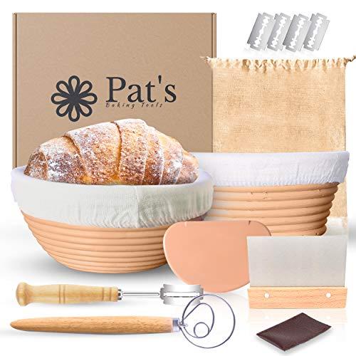 Pat's Banneton Bread Proofing Basket 2 Pack kit   8 Inch Round + 8 Inch Oval   Sourdough Bread Bowl Baskets set