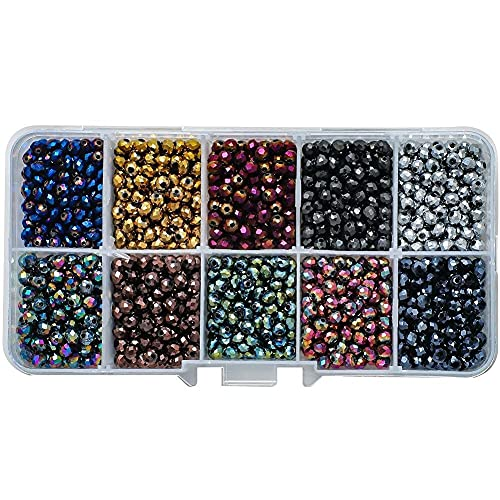 1000 Pcs 4mm Czech Crystal Glass Beads Set Round Crack Glass Loose Bead Colorful Broken Floral Beads with Plastic Storage Box for DIY Craft Bracelet Necklace Earring Jewelry Making