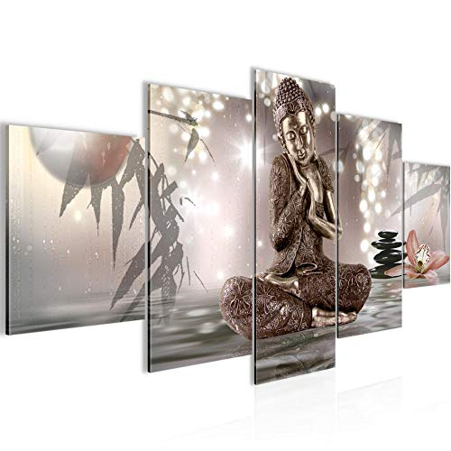 Budda Feng Shui Murali Tela Non Tessuta 5 Pezzi Terme Zen Beige Camera Da Letto Corridoio 503453a