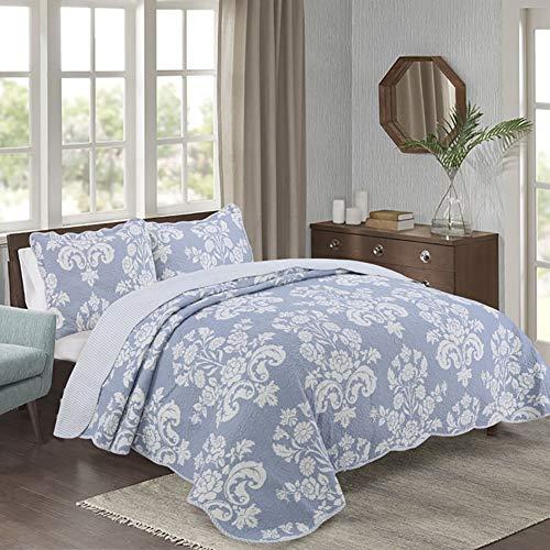 Bling de 3 Piezas del edredón del lecho, Gris/Azul Impresa Flor de la Vendimia 100% algodón Reversible cobertor para la Mujer,Azul