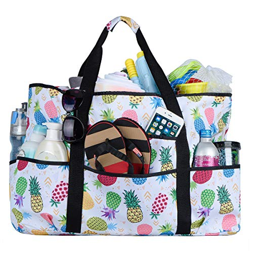 Beach Bag, Extra Large Beach Bags Totes for Women with Zipper Pineapple Pool Bag Oversized Travel Tote Bag With Pockets (pineapples) …