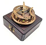 A S Handicrafts Brass Sundial Compass with Wood Case - Gilbert Sundial Camping/Hiking Steampunk Accessory - Antique Finish - Beautiful -Sundial Clock (Antique Brass Sundial)