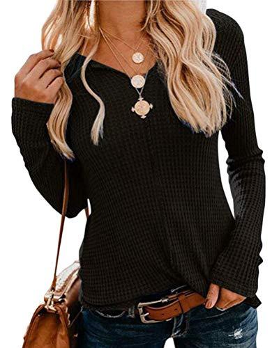 OranDesigne Pullover Damen Langarmshirt Casual Einfarbig Langarm T-Shirt V-Ausschnitt Pullover Slim Fit Oberteil Tops Schwarz Small