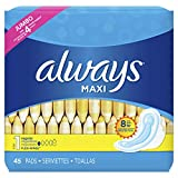 Always Feminine Pads for Women, Size 1, Regular Absorbency, 45 Count with Wings, Unscented (45 Count)