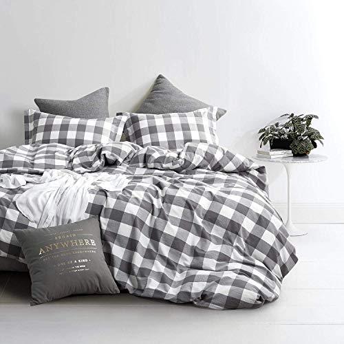 Lanqinglv Weiß Grau Bettwäsche 135x200cm 2 teilig Reißverschluss Kariert Muster Bettwäsche Renforce Bettbezug mit Kissenbezüge 80x80cm (RAJL,135x200)