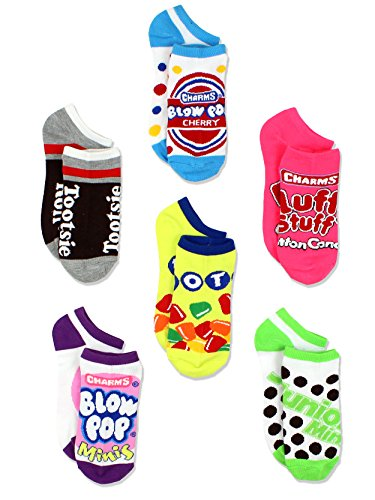 Topps Charms Candy Tootsie Roll Womens 6 pack Socks (9-11 Womens (Shoe: 4-10), Multicolor No Show)