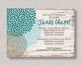 Eyrrme Plaque décorative Invitation de baptême - Rustique - Motif Floral - Invitation de baptême - Décoration de baptême - pour garçon