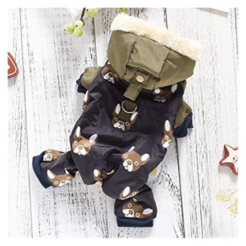 LIUCHANG Disfraz de Bulldog francés para perros de invierno, cálido abrigo de nieve para cachorros pequeños y medianos, mascotas, gatos (color: verde, talla: S) liuchang20
