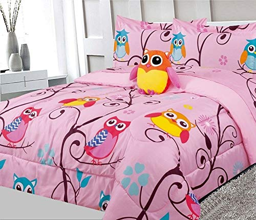 Bedding Haus Twin Kids Comforter Bedding Set (6pc), Multi-Color Outer Owl Planets Design, Fun and Bright Bed Covers Girl Kids, Comforter, Sham, Toy Pillow, 3pc Sheet Set, Twin 6pc Owl