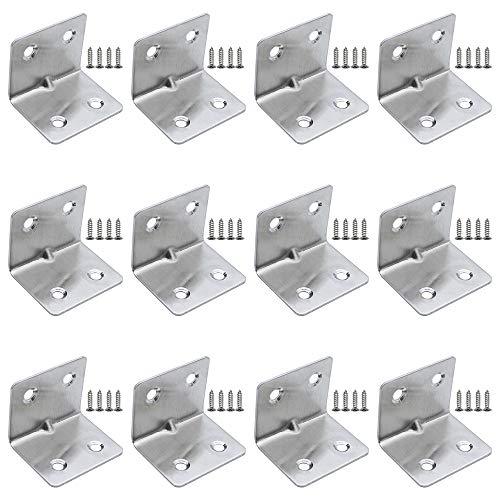 DXLing 12 Pièces Acier Inoxydable Angle Connecteur 31 x 31 x 38mm Support De Tablette Équerre de Fixation Support de Coin en Forme de L Équerre Angle Droit avec 48pcs Vis pour Armoire Chaise Étagère
