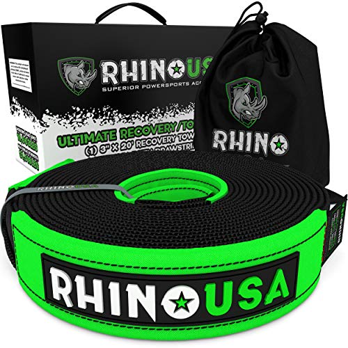 """Rhino USA Recovery Tow Strap (3"""" x 20') Lab Tested 31,518lb Break Strength, Premium Draw String Bag Included - Heavy Duty Triple Reinforced Loop Ends - Emergency Off Road Towing Rope"""