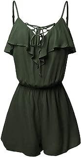 Plus Size Jumpsuits for Women V Neck Criss Cross Spaghetti Strap Ruffle Elastic Waist Casual Short Romper S-5XL