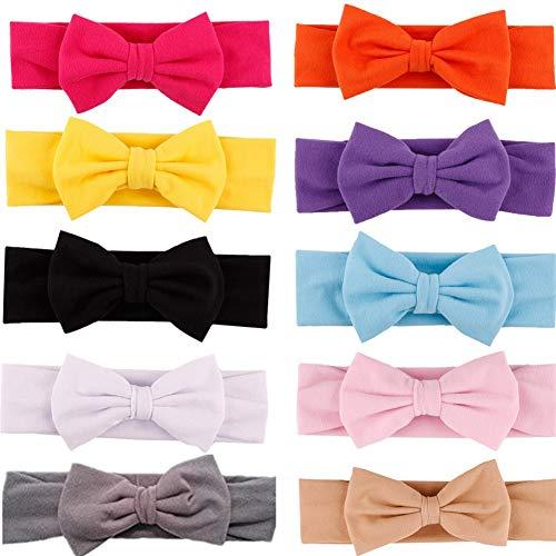 GUIFIER 10 Stück Babys Stirnbänder mit Schleife Haarband Baby Mädchen Stirnband Baumwolle mit 4,5