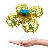 BRAND SET Mini Drone para niños RC Quadcopter Modo sin Cabeza 360 Grados Voltea Operación de Control Remoto de Retorno de una tecla Principiante y niños Drone de Vuelo-Amarillo