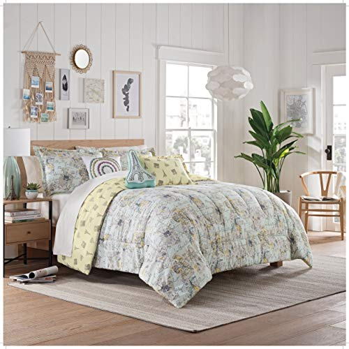 WAVERLY SPREE Mapped Out 3pc Reversible Comforter Set, Twin, Mint