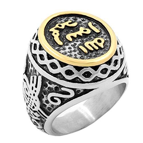 PAMTIER Stainless Steel Vintage signate Muslim Islamic Arabic Shahada Ring Silver Gold Size 9