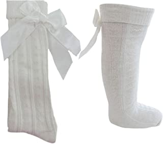 BOW ROSE 0-12 month BABY GIRLS PINK IVORY WHITE ANKLE SOCKS WITH HEART FRILL