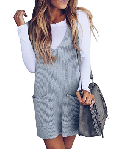Imily Bela Womens Ribbed Deep V Neck Knitted Shift Dress Tank Vest Sweater Grey