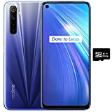 Realme 6 (128GB, 4GB) 6.5' 90Hz Display, 30W Fast Charge, MediaTek Helio G90T, GSM Unlocked Global 4G LTE (T-Mobile, AT&T, Metro) International Model - RMX2001 (64GB SD + Case Bundle, Comet Blue)