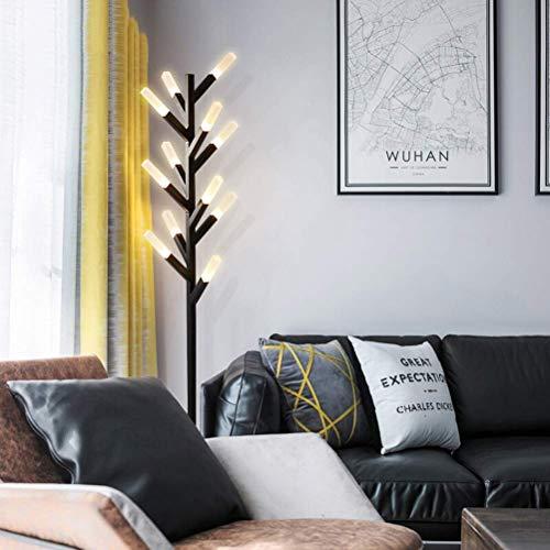 GBX Lámpara de pie doméstica con interruptor de pie, lámpara de pie posmoderna estilo villa de la villa de leña - Decoración navideña creativa [Clase de energía a + +],Negro