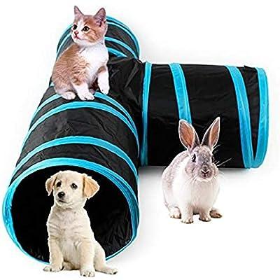 AikoPets Collapsible 3 Way Cat Tube Kitty Tunnel Bored Cat Pet Toys Peek Hole Toy Ball Cat, Puppy, Kitty, Kitten, Rabbit (Blue) from AikoPets