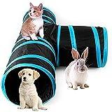 AikoPets Collapsible 3 Way Cat Tube Kitty Tunnel Bored Cat Pet Toys Peek Hole Toy Ball Cat, Puppy, Kitty, Kitten, Rabbit (Blue)