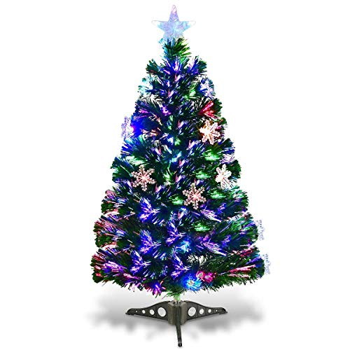 Goplus 3FT Pre-Lit Fiber Optic Artificial Christmas Tree, with Multicolor Led Lights and Snowflakes (3 FT)