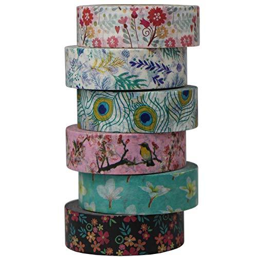 aufodara - Juego de 6 Rollos de Cinta Adhesiva Decorativa para Scrapbooking,...
