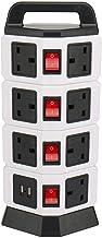 توصيلة كهربائية عامودية أربعة طوابق، 11 مقابس مع 2 مدخل يو اس بي لشحن الجالكسي والأيفون، أسود